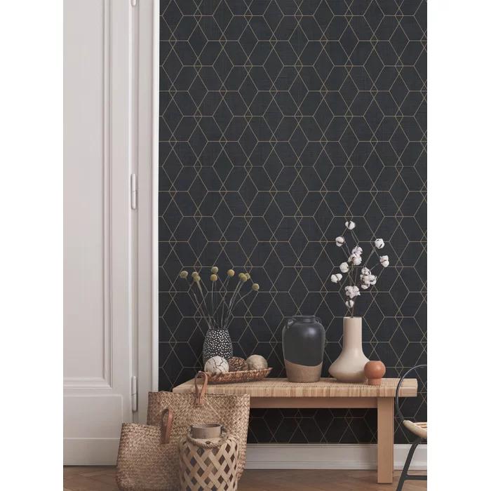 Stimsone Hexagon Art Deco Paintable Peel And Stick Wallpaper Panel In 2021 Art Deco Living Room Wallpaper Panels Peel And Stick Wallpaper