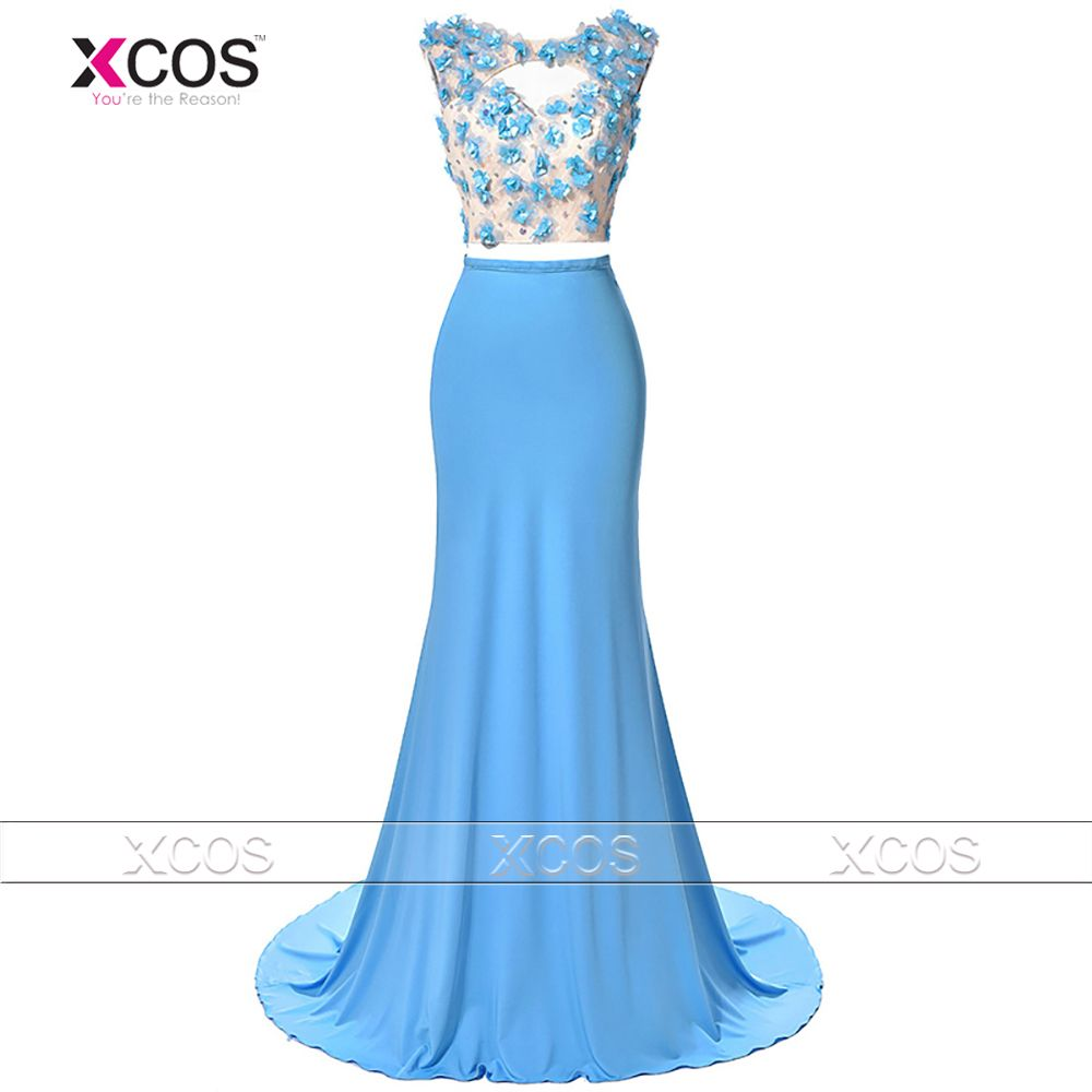 Crop Top Two Piece Prom Dresses Flowers Beaded 2016 Fashion Mermaid ...