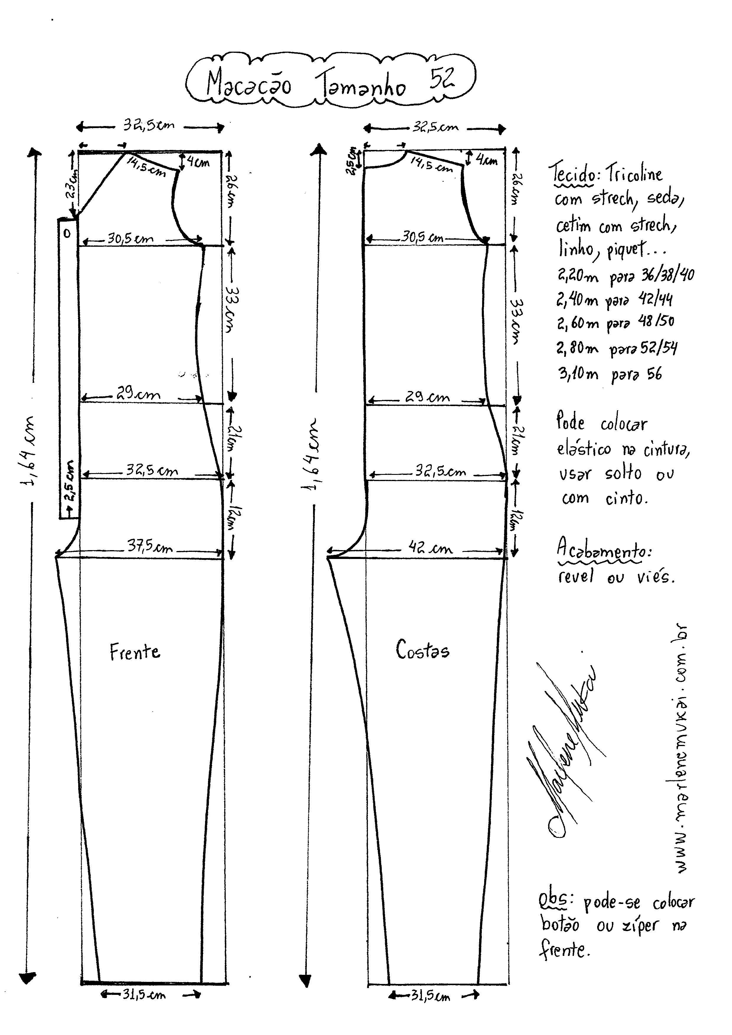 Macacão Longo | pijamas novedosas | Pinterest | Patrones, Costura y ...