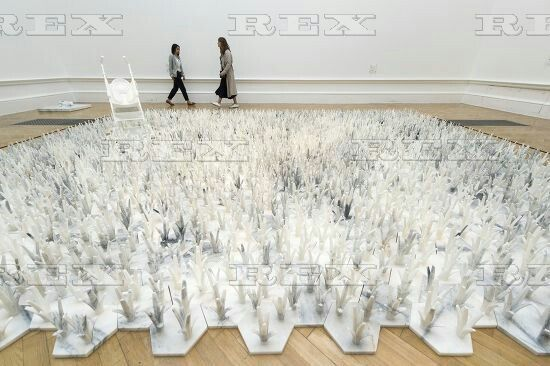 Ai Weiwei press preview at the RA London, Britain - 15 Sep 2015  Artwork titled Marble Stroller (2014); Cao (2014) both by artist Ai Weiwei 15 Sep 2015