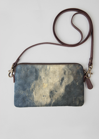 Leather Statement Clutch - Blue Hydrangea Wristlet by VIDA VIDA vuUmrmZ