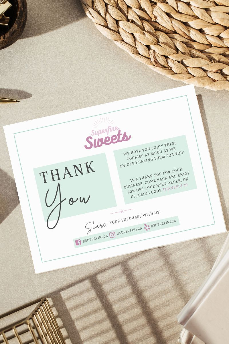 Custom Thank You Packaging For Your Bakery Customers Business Thank You Cards Business Thank You Notes Printable Thank You Notes