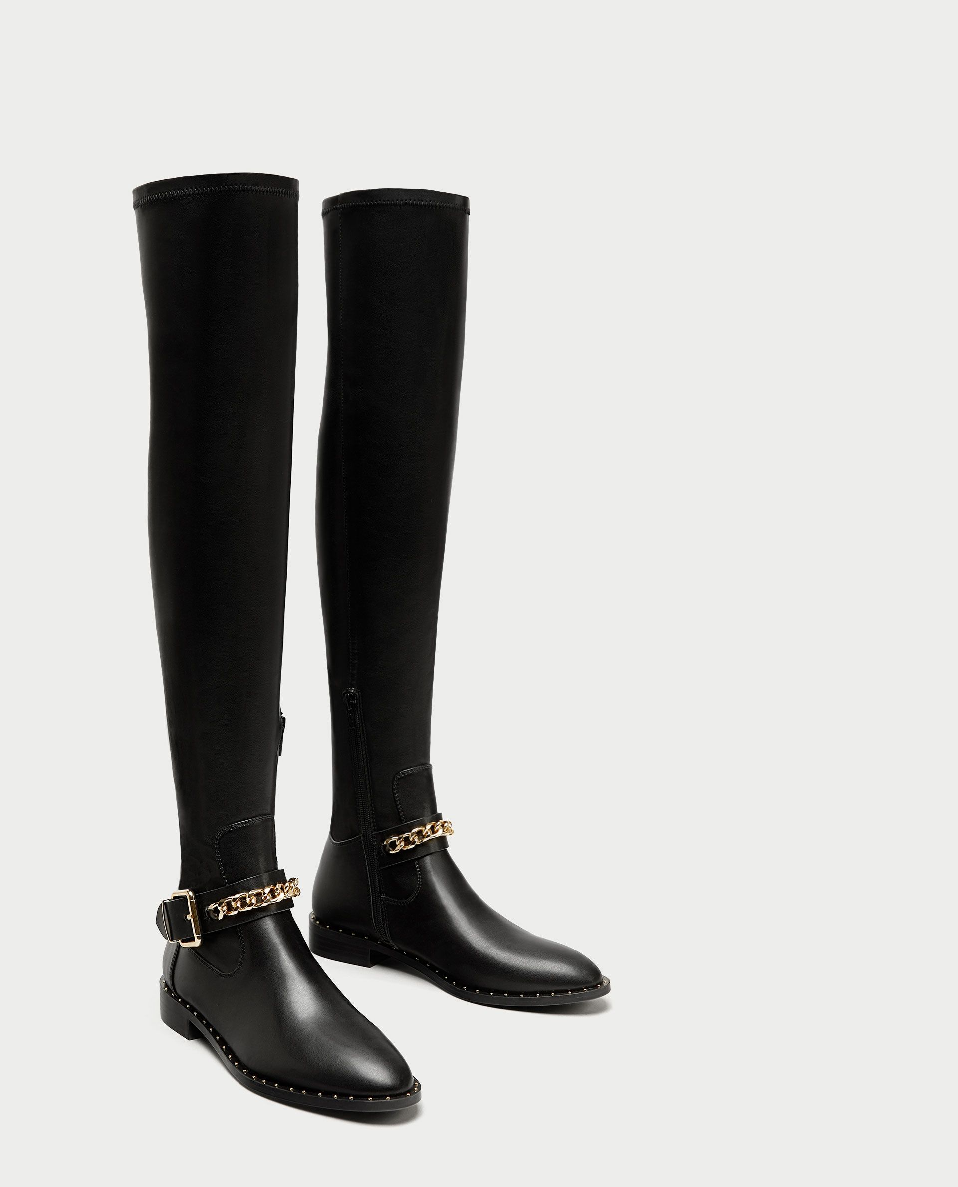 24278cfeb98 ZARA - WOMAN - FLAT OVER-THE-KNEE BOOTS WITH CHAIN DETAIL