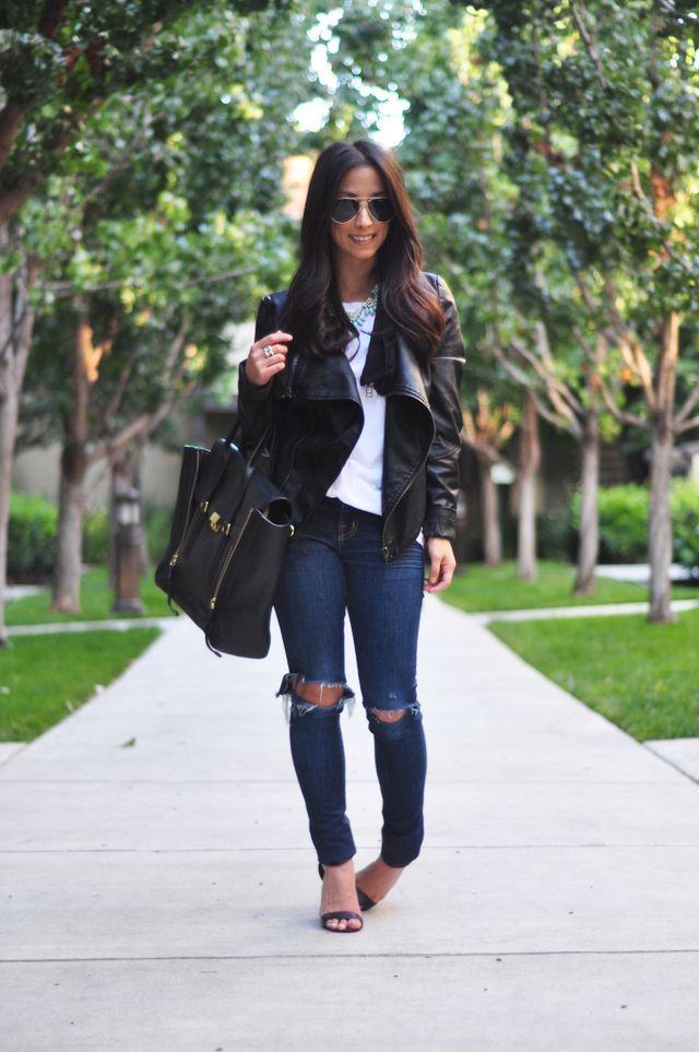 demin jacket Outfit Ideas Tumblr | Ripped Jeans Outfit Tumblr Leather  jacket + ripped jeans