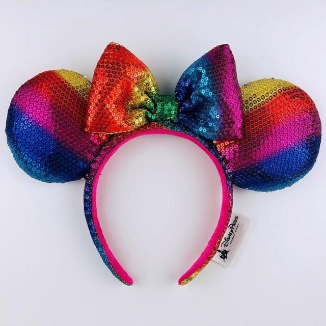 Photo of Disney Headband Minnie Ears For Women Mermaid Ariel Headdress Cartoon Anime Disneyland Mickey Mouse Bow Sequins Hair Hoop – E