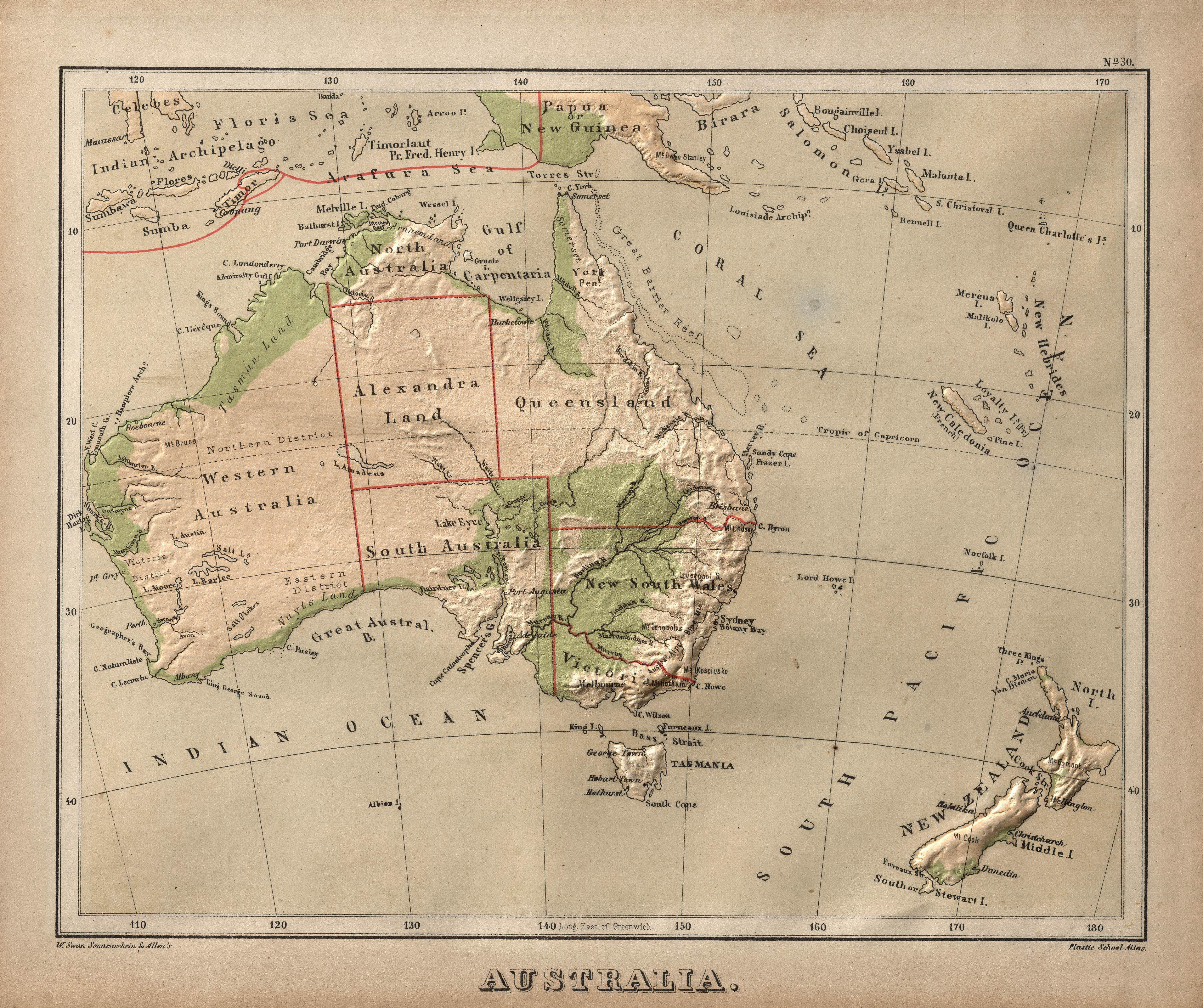 Map Of Australia 1880.Raised Relief Map Of Australia And New Zealand 1880 Mapmania