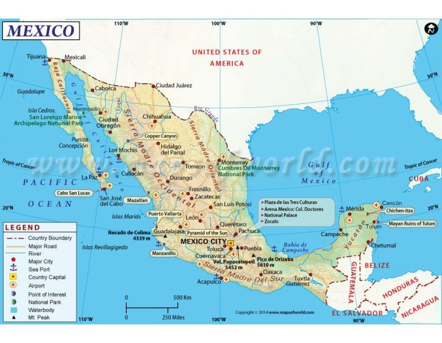 mexico map store mapsofworld pinterestrhpinterest usa map mexico city at sokhangucom