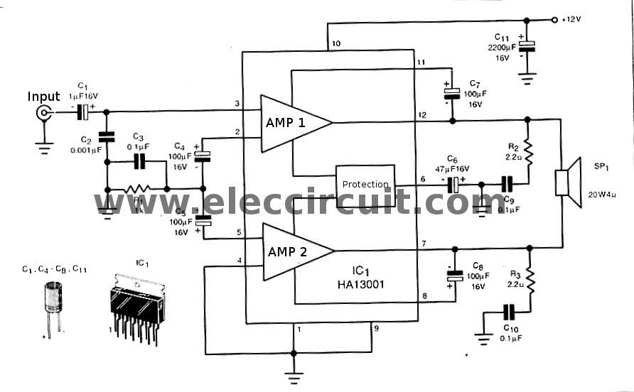 this is mini 40 watt audio car amplifier circuit using ha13001 on rh pinterest com Class D Audio Amplifier Schematic Tube Amplifier Schematic Diagrams