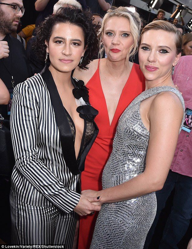 Ladies night: She posed with co-stars Ilana Glazer (L) and Kate McKinnon at the eventR...