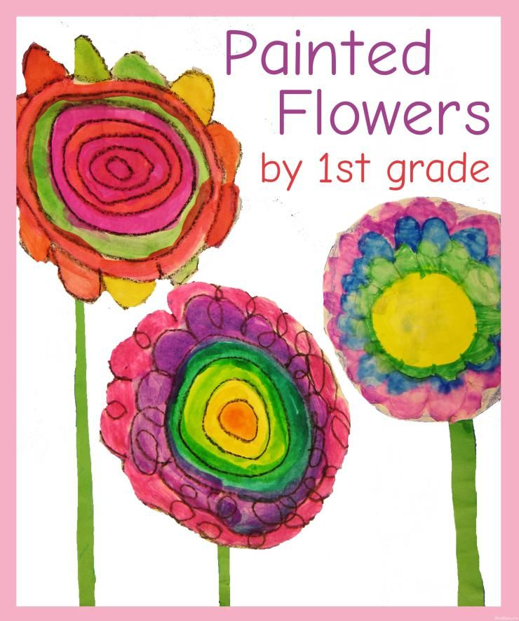 Flower Paintings by First Grade: Learn about Van Gogh and