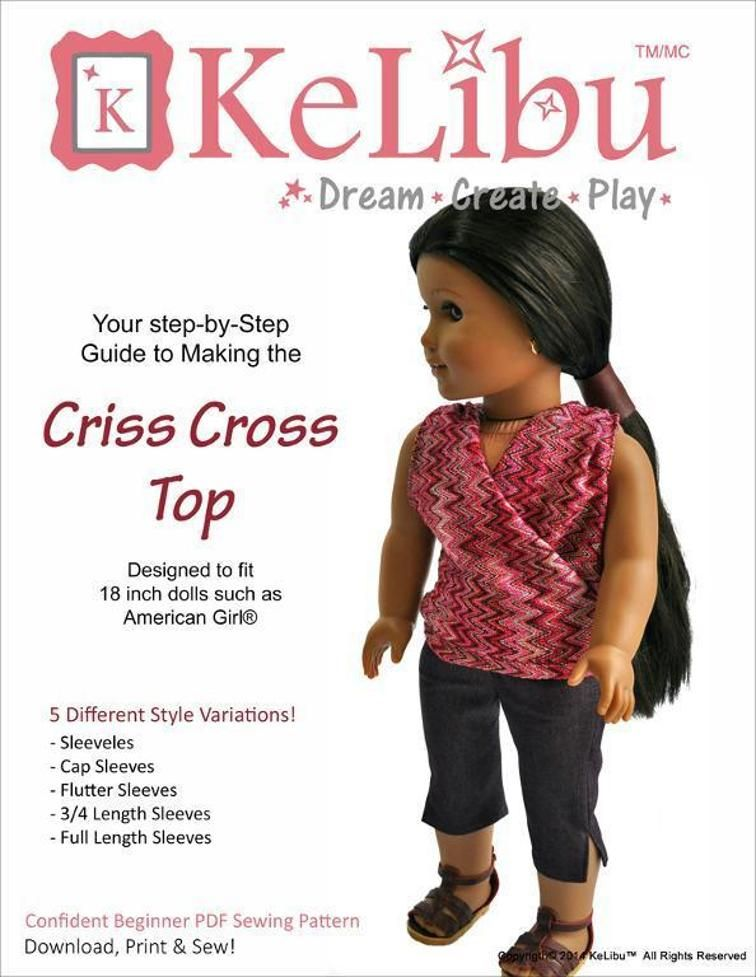 Criss-Cross Top Pattern for 18 inch doll | Craftsy | American Girl ...