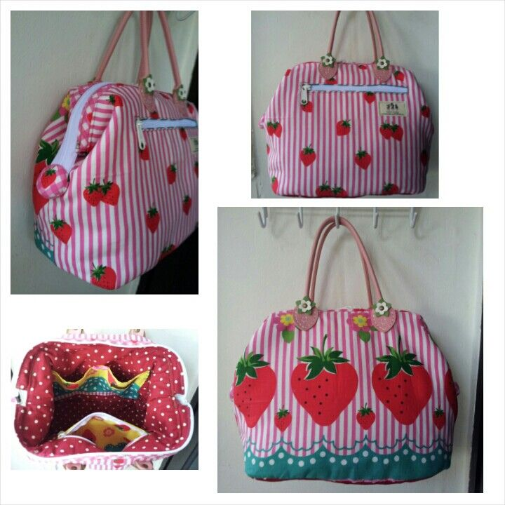 Drawstring Backpack Strawberry Pattern Shoulder Bags