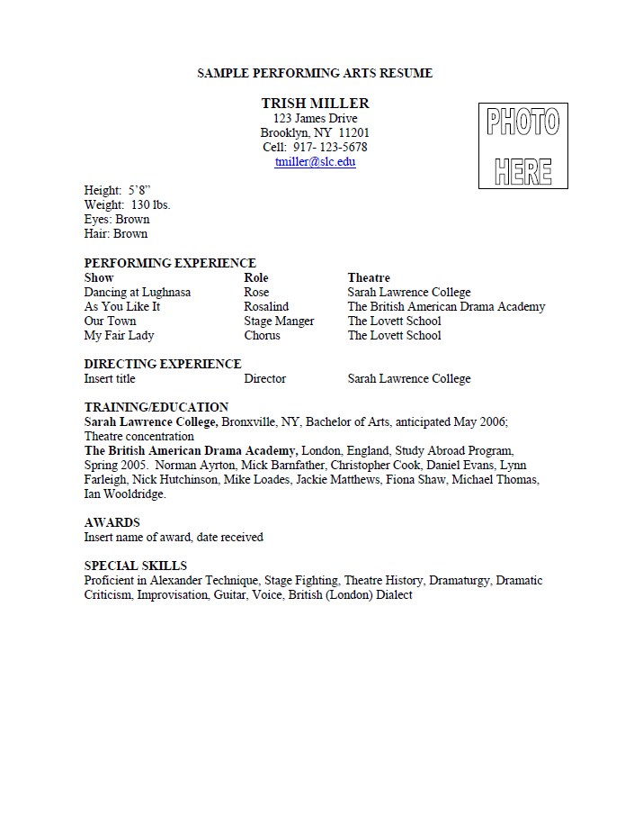An Example Of A Performing Arts Resume From Sarah Lawrence College