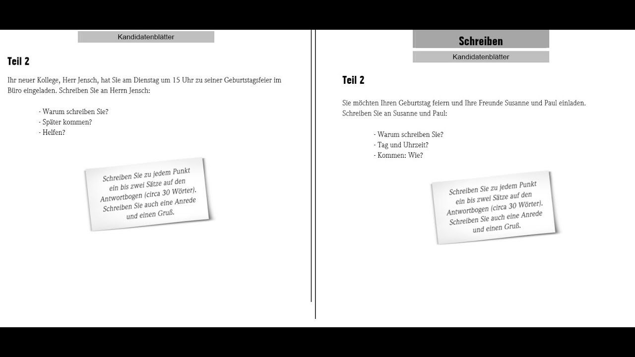 Goethe Zertifikat A1 (Schreiben) Start Deutsch 6Exam