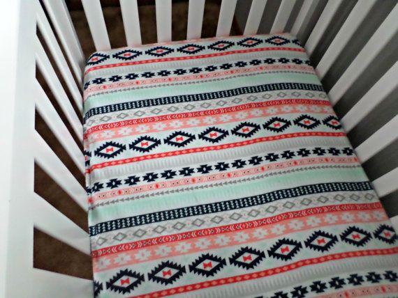 Aztec Crib Sheet Bedding, Girl Aztec Nursery Bedding