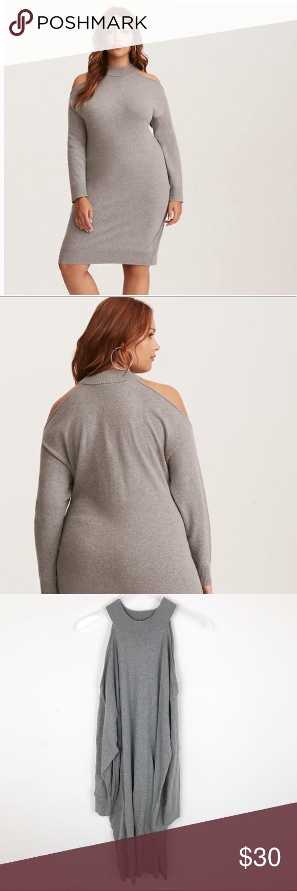 e7da248a6c58 Torrid Grey Cold Shoulder Sweater Dress 2X 3X This sweater dress is so cute!  Heather
