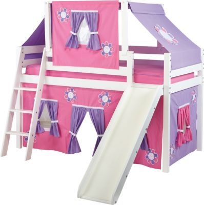Shop For A Pink Cottage White Loft Bed W Slide And Tent At Rooms