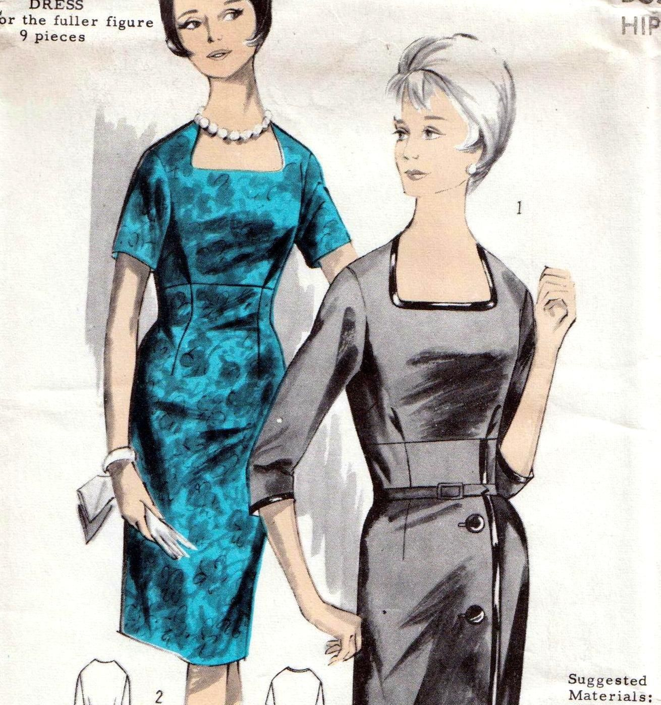 "RARE Vintage 60s SLIM DRESS Sewing Pattern UNUSED Bust 42"" Sz 18 EVENING Wiggle   eBay"