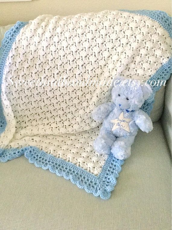 crochet baby blanket white and blue afghan blanket boy blanket ...