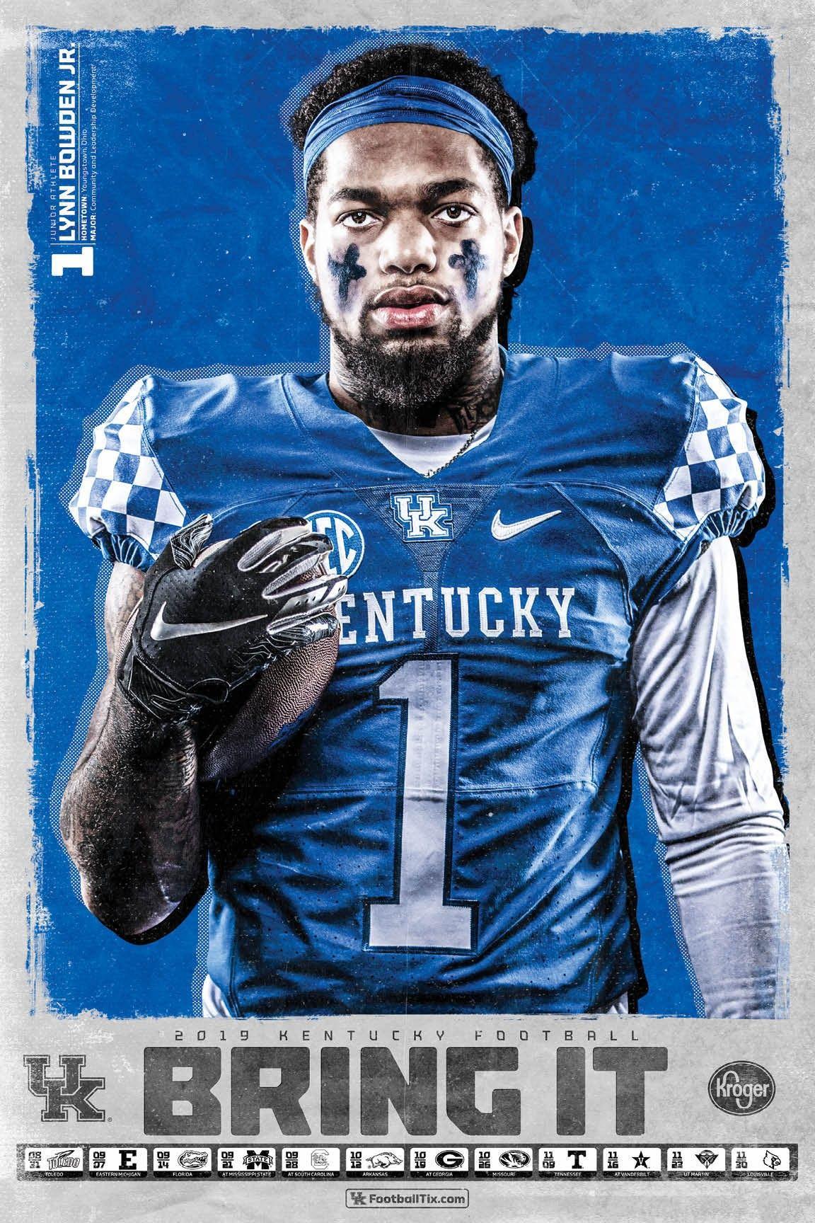 2019 8 Schedule Poster Lynn Bowden Jr Kentucky Football Kentucky Athletics Football