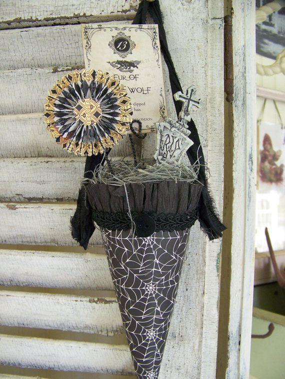 handmade halloween cone vintage halloween decoration altered victorian paper mache cone vintage halloween decor altered art tussie mussie - Victorian Halloween Decorations