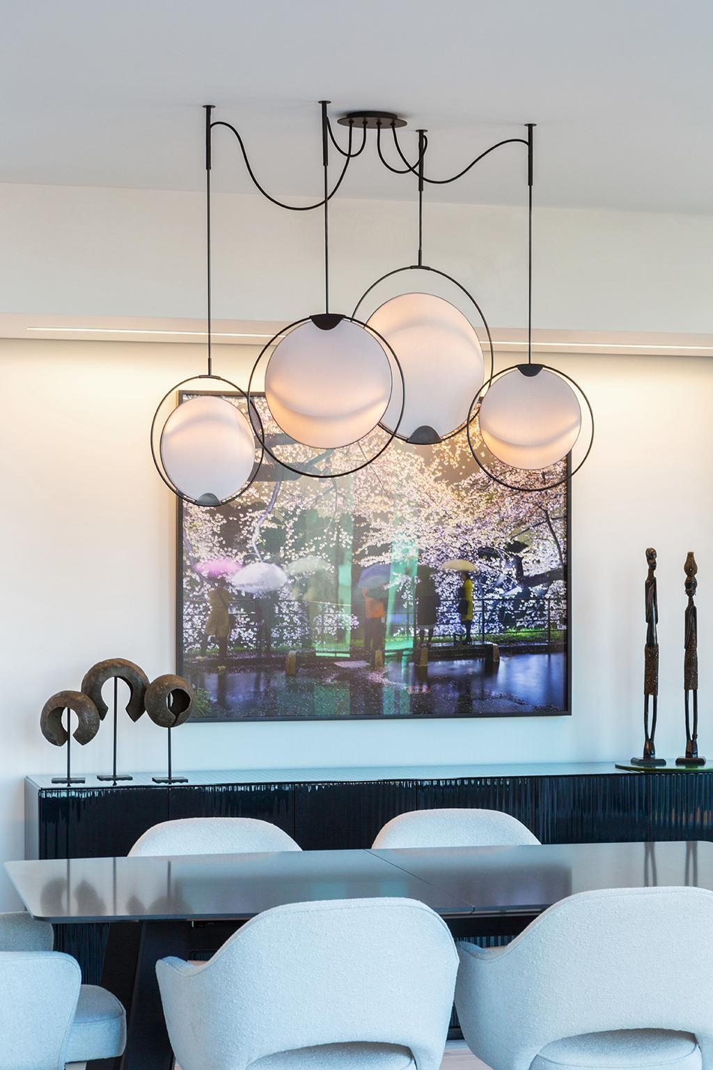 hoop shade chandelier modern kinetic circular blacken steel linen rh pinterest com mx