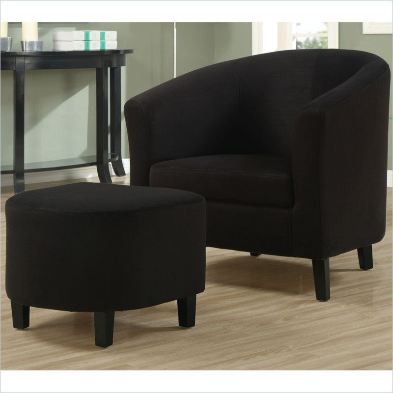 Padded Micro-Fiber Accent Barrel Chair And Ottoman in Black ...