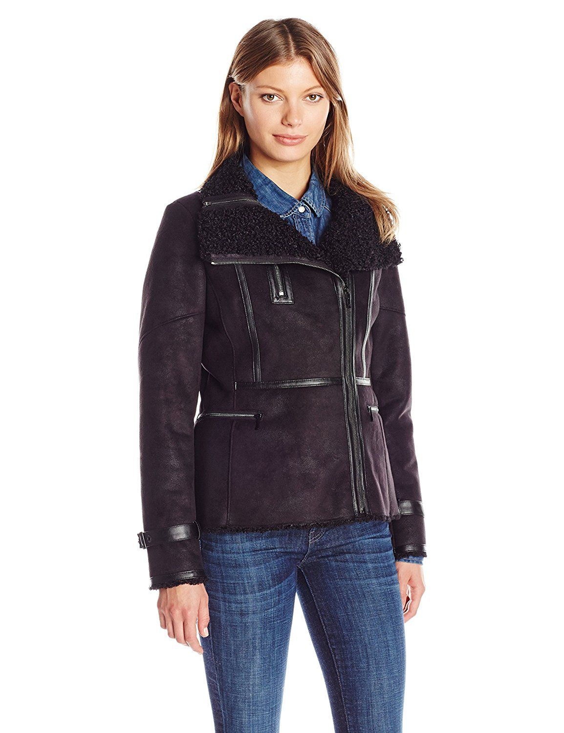 Calvin Klein Women's Shearling Jacket with Faux Leather at