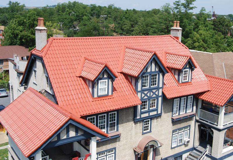 Atas Techo Tile Roof Provides A Cool Spanish Feel Metal Roof Metal Roof Tiles Residential Metal Roofing