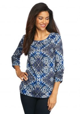 Kim Rogers  Petite Side Ruch Hacci Print Top
