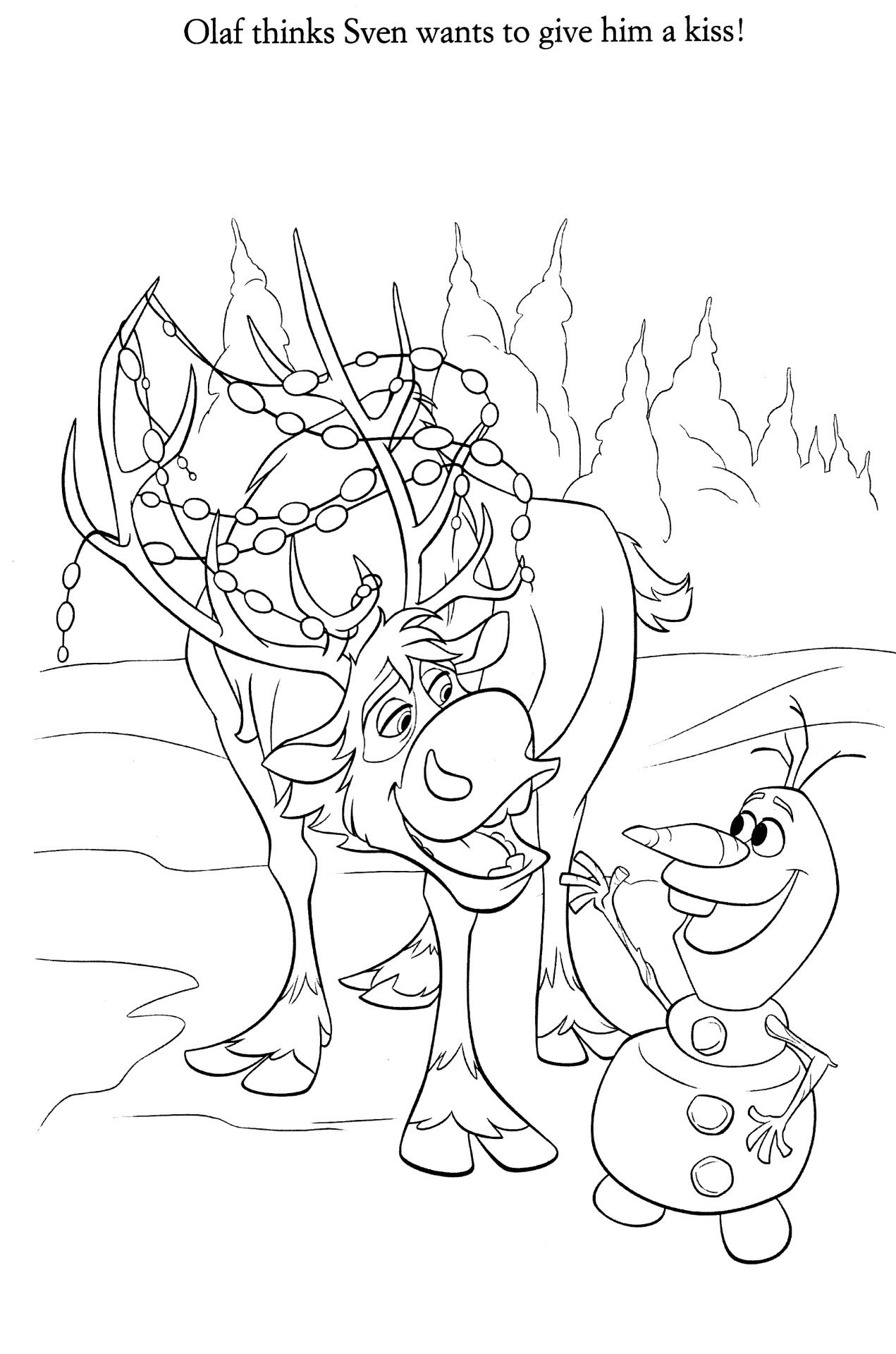 Coloriage La Reine Des Neiges Sven And Olaf Disney Coloring