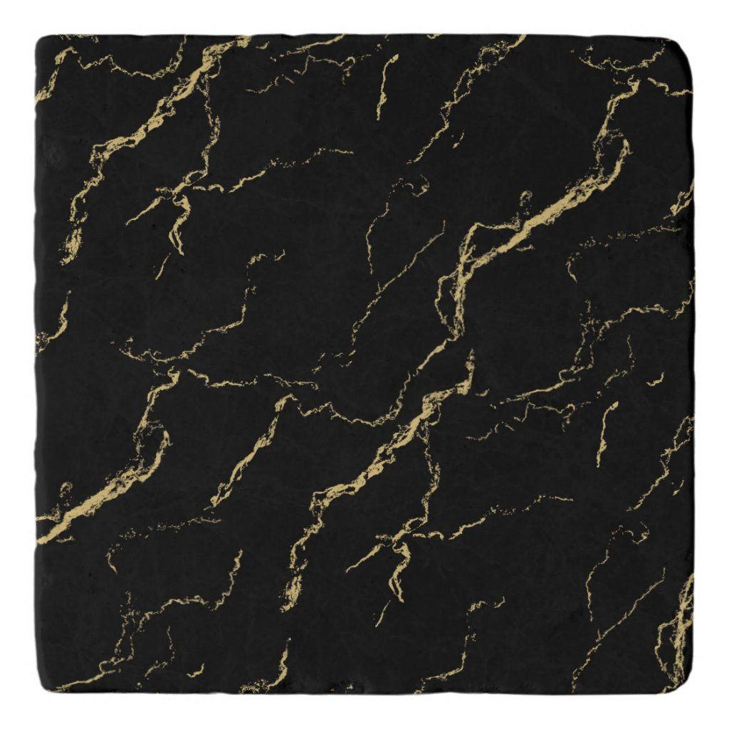 Sharp Black And Gold Marble Trivet Zazzle Com In 2020 Black And Gold Marble Gold Marble Wallpaper Black And Gold Aesthetic