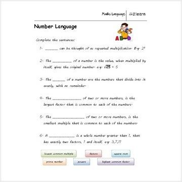 Math Language Natural Numbers Worksheet For 9 16 Year Olds Worksheet To Aid Understanding Of Working With Na Natural Number Number Worksheets Teacher Help