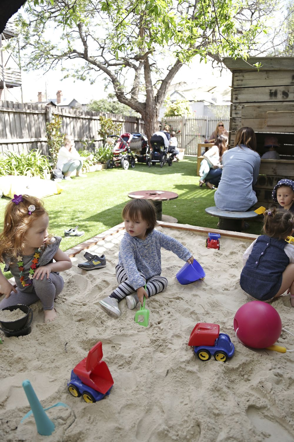 playhouse child friendly interior surfaces | Outdoor play area with sandpit, cubby house and seating ...