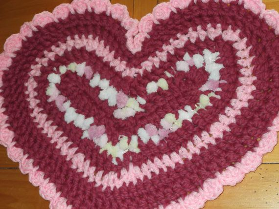 Crocheted Marshmallow Hearts  Trio  Large Heart is 20 by Ragz2Rugs, $18.00