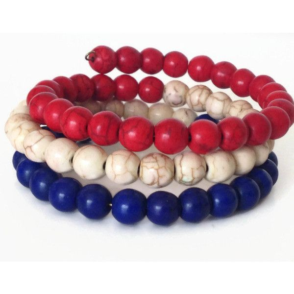 Red White And Blue Bracelet Patriotic Stone