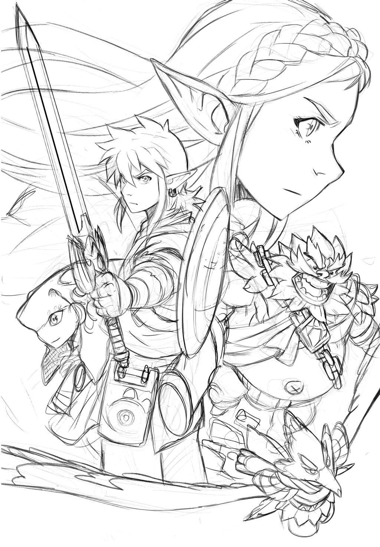 Zelda Breath Of The Wild Sketched Composition By Loboborges On Deviantart Legend Of Zelda Tattoos Mermaid Coloring Pages Zelda Drawing