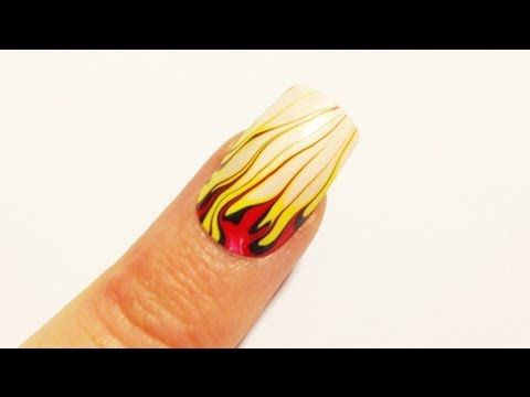 Flames Of Fire Water Marble Nail Art Tutorial Nail Art