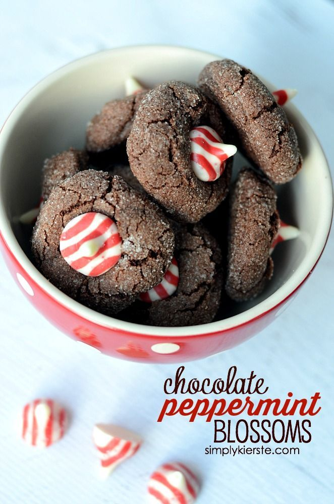 Chocolate Peppermint Blossoms Holidays Holiday Cookies