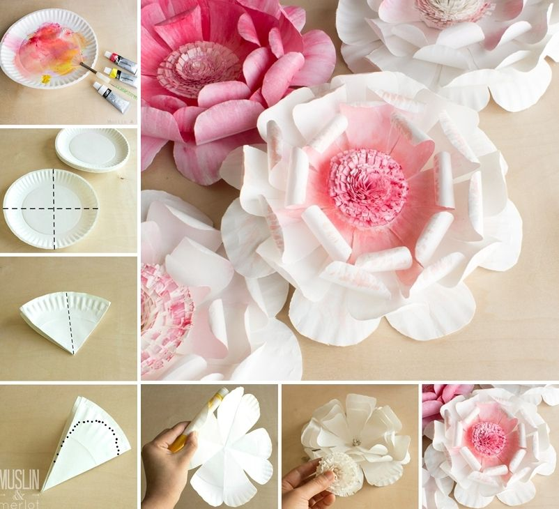 Paper plate flowers paper punch art ideas pinterest paper image via muslinandmerlot thewhoot to make these stunning paper plate flowers first fold a paper plate along the black dashed lines mightylinksfo