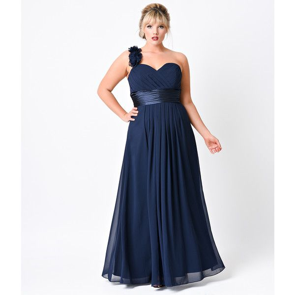 Plus Size Navy Chiffon Floral Cold Shoulder Long Gown ($88) ❤ liked ...