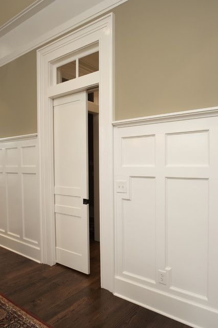 Wainscoting idea matches sticking and recessed panel look of interior doors. #wainscoting & Wainscoting idea matches sticking and recessed panel look of ...