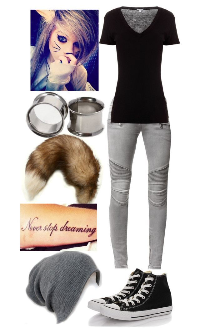 """""""Stained glass eyes and colorful tears- Pierce the veil"""" by mariposas39 ❤ liked on Polyvore featuring Maison Kitsuné, Converse, Balmain and James Perse"""