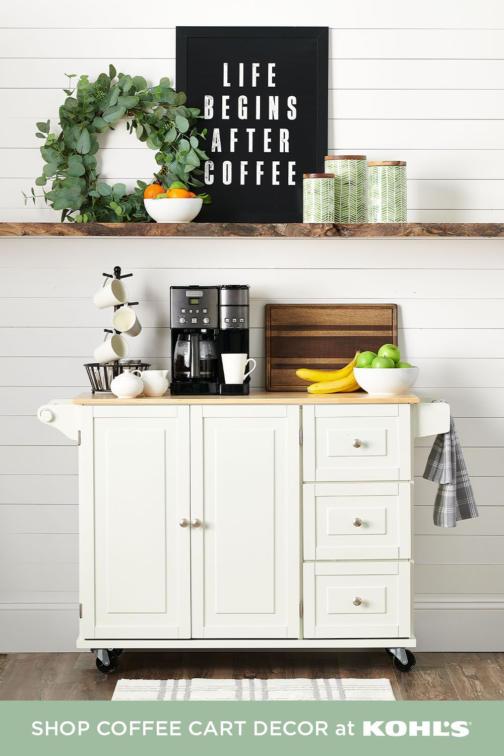 Move Over Bar Cart The Coffee Cart Has Arrived Freshen Up Your Space By Re Decorating With A Must Have Modern Farmhouse In 2020 Coffee Carts House Styles Unique Rugs