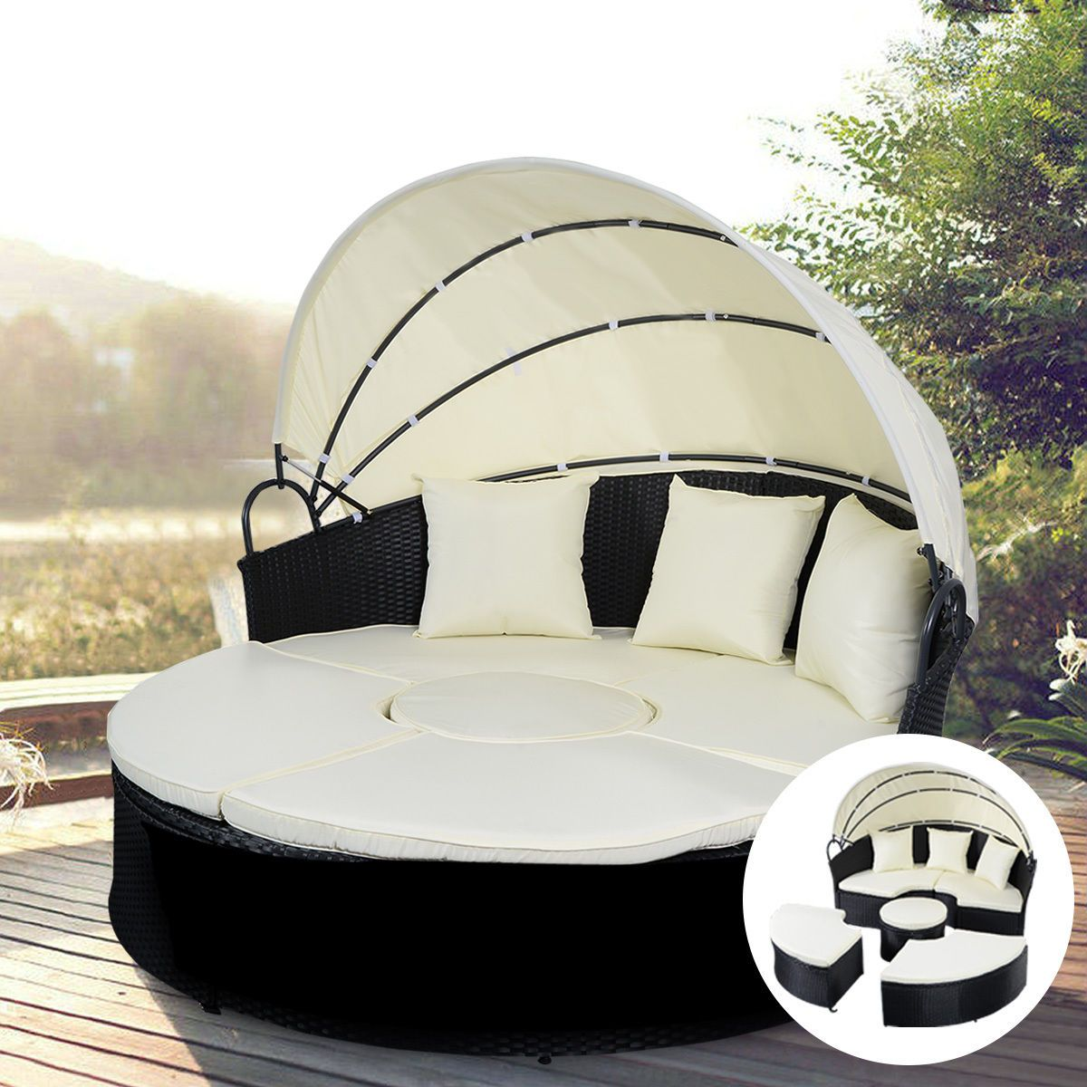 2in1 Outdoor Patio Rattan Round Retractable Canopy