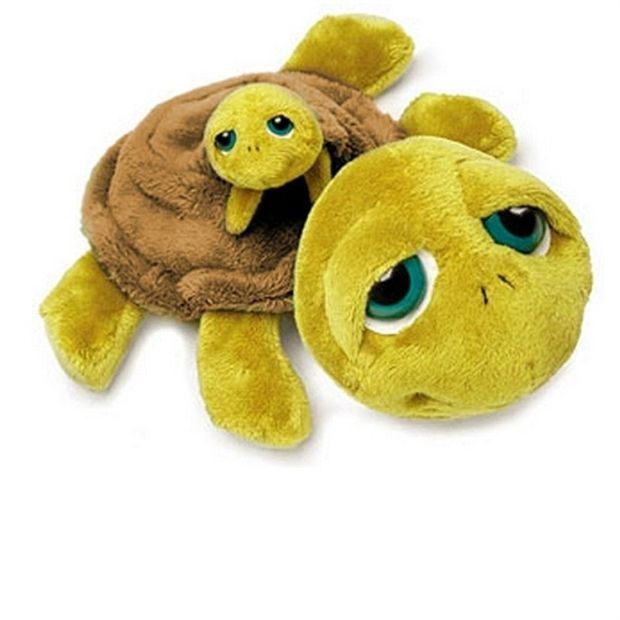 Russ Lil Peepers Shelly Plush Turtle Mommy Squeaking Baby
