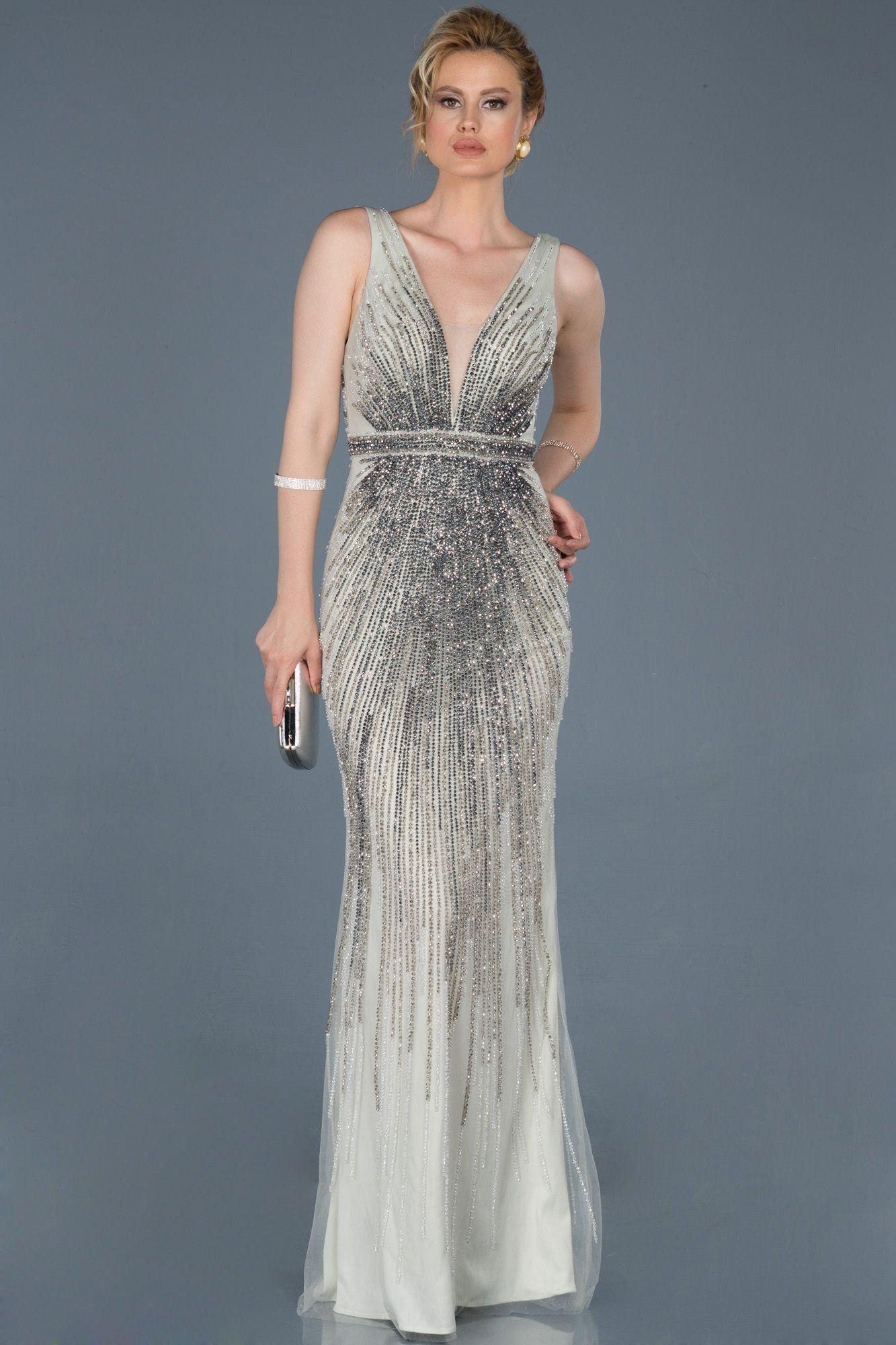 Gri Sirt Dekolteli Tasli Ozel Tasarim Abiye Abu802 2020 Elbise Modelleri Elbise The Dress