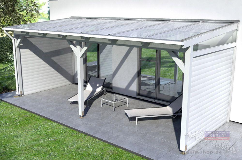 seitenw nde br stung windschutz oder sichtschutz f r das holz terrassendach einrichten. Black Bedroom Furniture Sets. Home Design Ideas