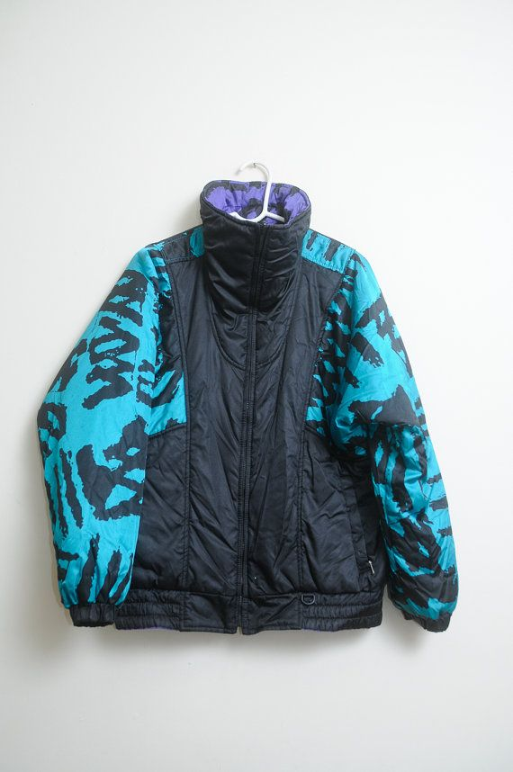 Vintage 80s 90s Reversible Snuggler Ski Wear Seattle Nylon Fresh and Funky  Wind Breaker Jacket 98a2828ee