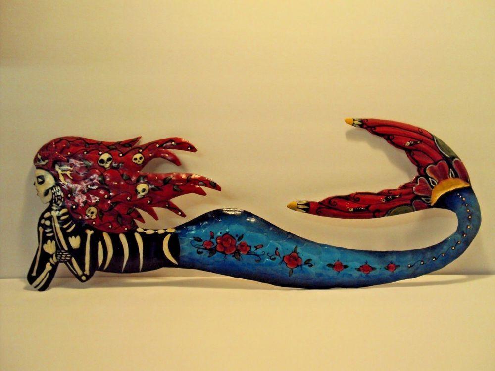 Le Sirena Day of the dead / Sugar skull Mermaid Metal Wall Art Hand ...